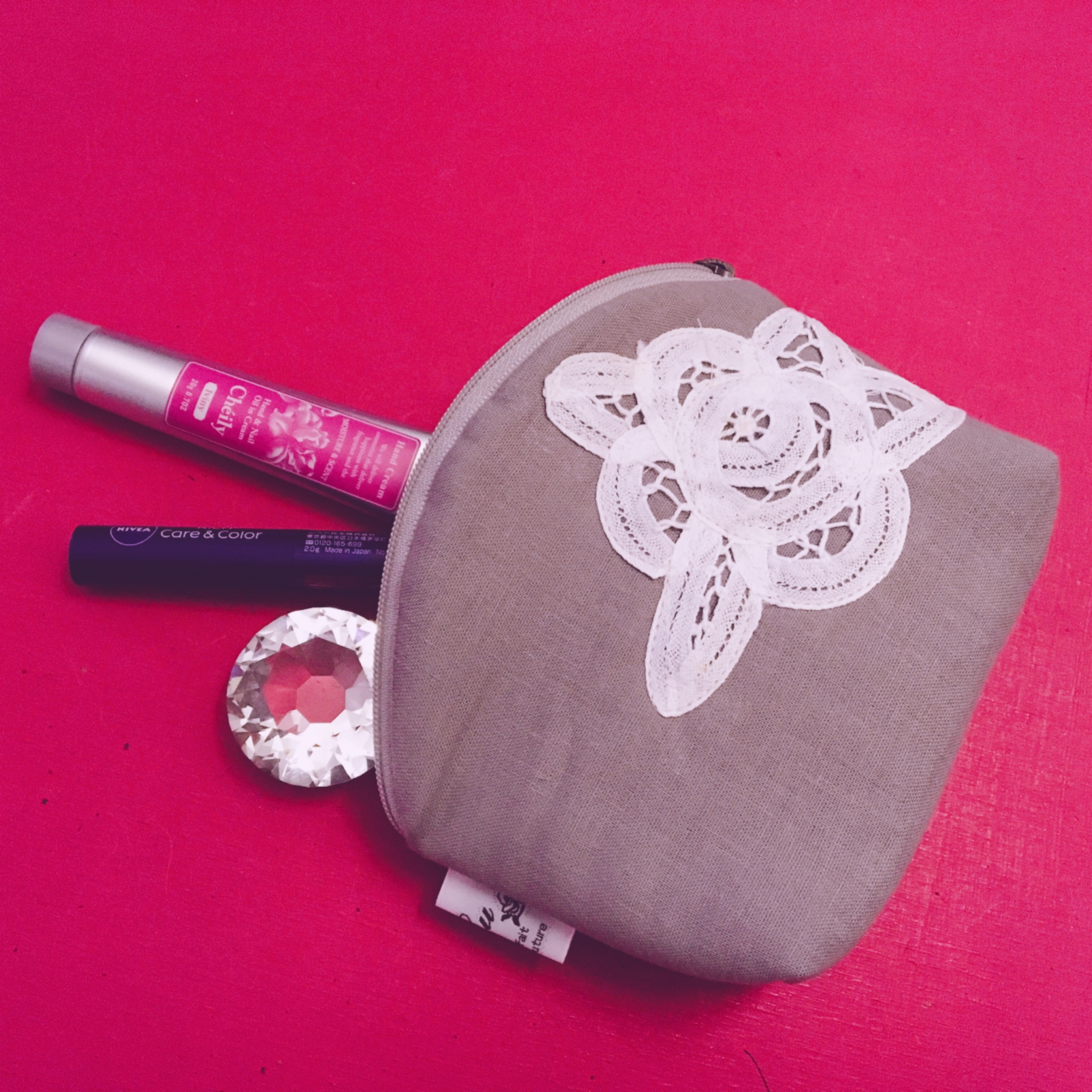 内ポケットをたくさん付けて化粧ポーチを作ってみた